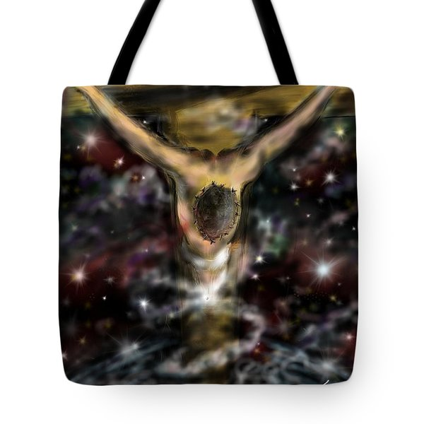 Tote Bag featuring the digital art Jesus World by Darren Cannell