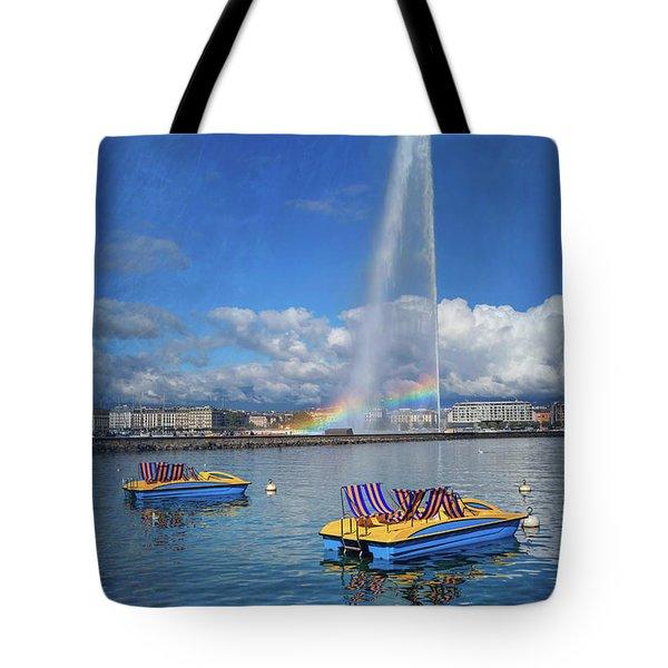 Jet Deau Geneva Switzerland  Tote Bag