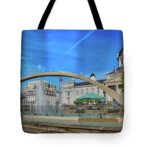 Jet Over City Hall Tote Bag