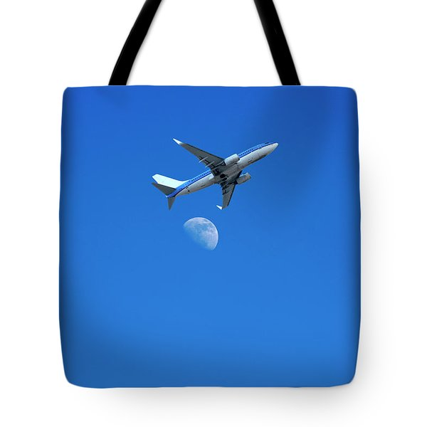Jet Plane Flying Over The Moon Tote Bag