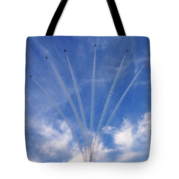 Tote Bag featuring the photograph Jet Planes Formation In Sky by Pradeep Raja Prints