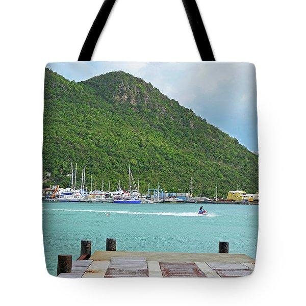 Jet Ski On The Lagoon Caribbean St Martin Tote Bag