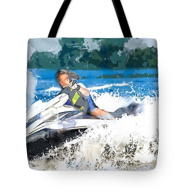 Jet Skiing In The Lake Tote Bag