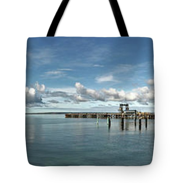 Tote Bag featuring the photograph Jetty To Shore by Stephen Mitchell