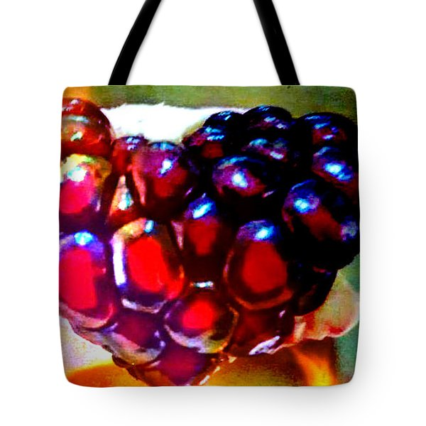Tote Bag featuring the painting Jeweled Heart In Light And Dark by Genevieve Esson