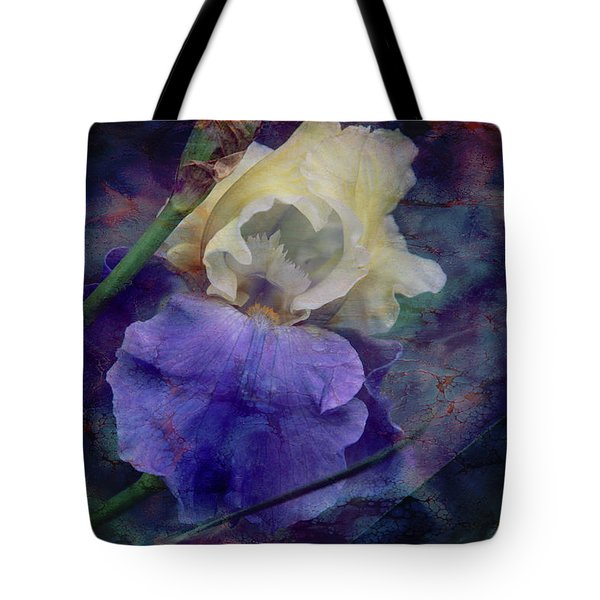 Tote Bag featuring the photograph Jeweled Iris by Toni Hopper