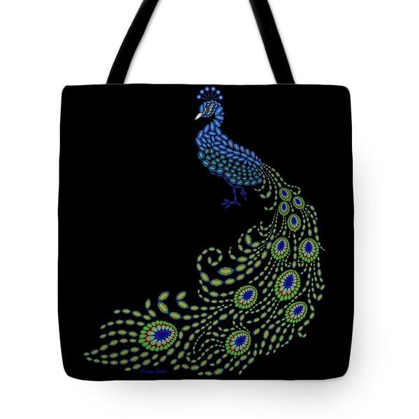 Jeweled Peacock Tote Bag