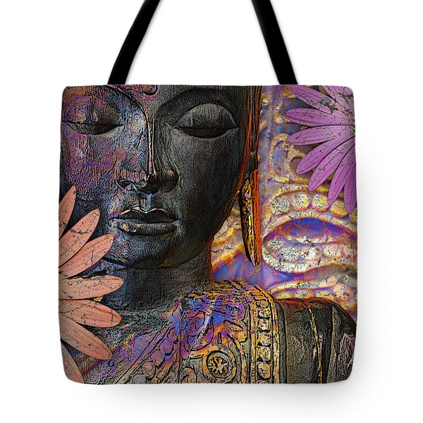 Tote Bag featuring the mixed media Jewels Of Wisdom - Buddha Floral Artwork by Christopher Beikmann
