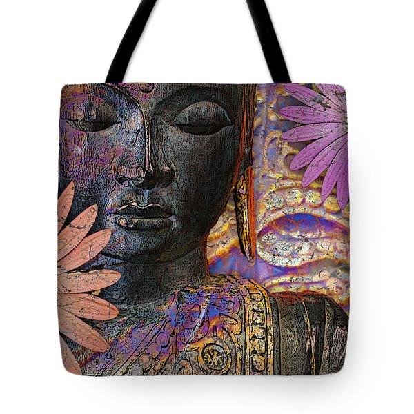 Jewels Of Wisdom - Buddha Floral Artwork Tote Bag
