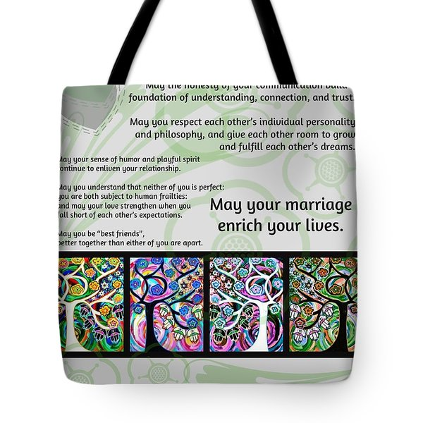 Jewish Seven Wedding Blessings Tree Of Life Hamsas Tote Bag
