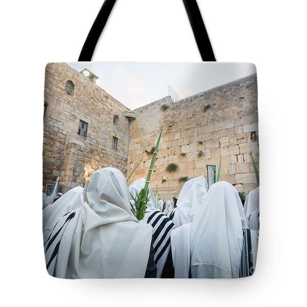 Jewish Sunrise Prayers At The Western Wall, Israel 10 Tote Bag