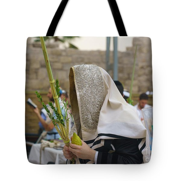 Jewish Sunrise Prayers At The Western Wall, Israel 7 Tote Bag