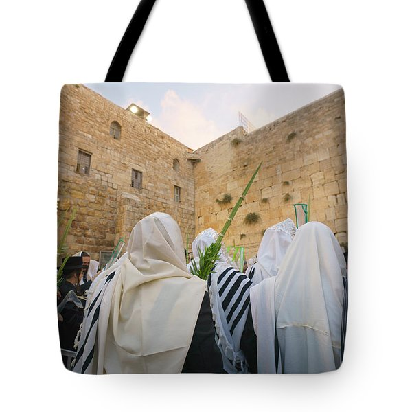 Jewish Sunrise Prayers At The Western Wall, Israel 9 Tote Bag