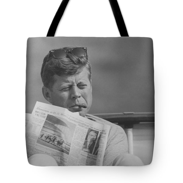 Jfk Relaxing Outside Tote Bag by War Is Hell Store