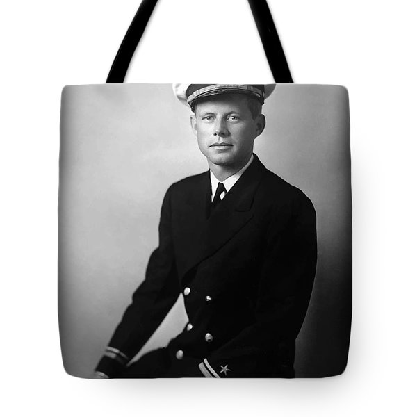 Jfk Wearing His Navy Uniform Painting Tote Bag