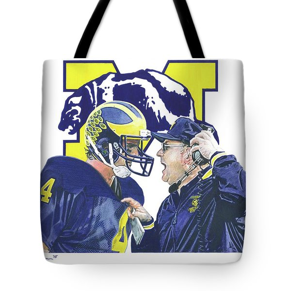 Jim Harbaugh And Bo Schembechler Tote Bag by Chris Brown