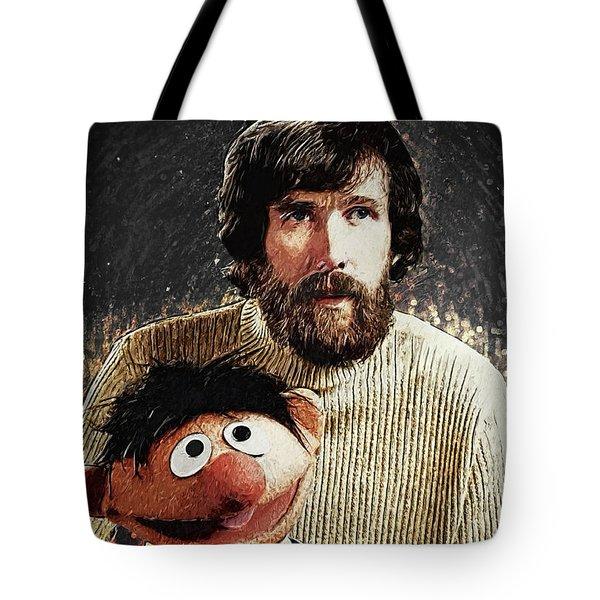 Tote Bag featuring the digital art Jim Henson With Ernie by Taylan Apukovska