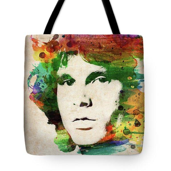 Jim Morrison Colorful Portrait Tote Bag