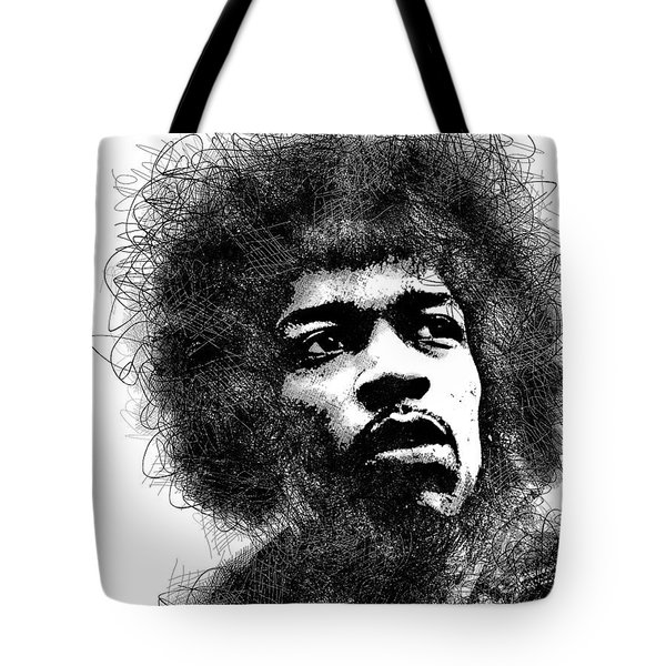 Jimi Hendrix Bw Scribbles Portrait Tote Bag