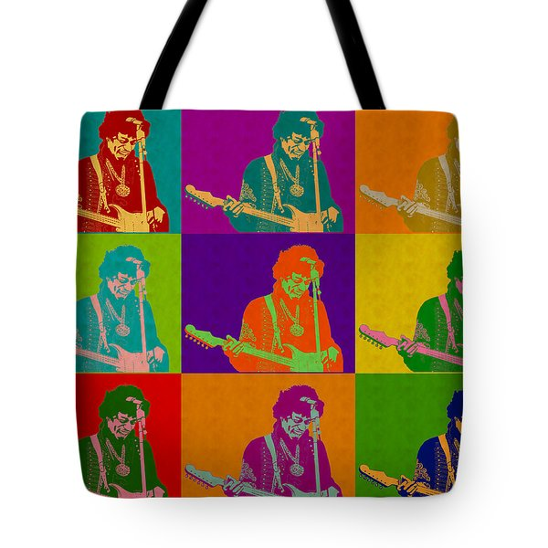 Jimi Hendrix In The Style Of Andy Warhol Tote Bag