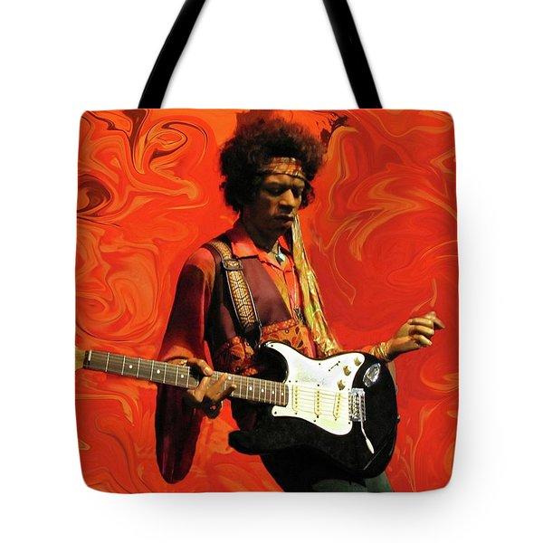 Tote Bag featuring the photograph Jimi Hendrix Purple Haze Orange by David Dehner