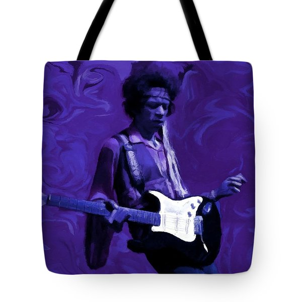 Tote Bag featuring the painting Jimi Hendrix Purple Haze P D P by David Dehner