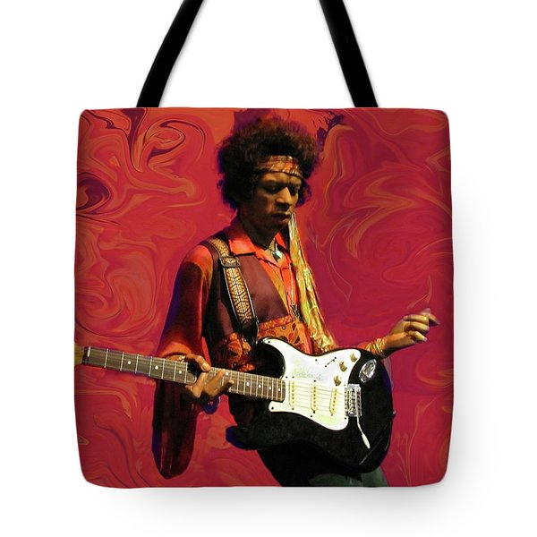 Tote Bag featuring the photograph Jimi Hendrix Purple Haze Red by David Dehner