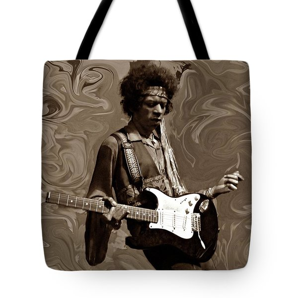 Tote Bag featuring the photograph Jimi Hendrix Purple Haze Sepia by David Dehner
