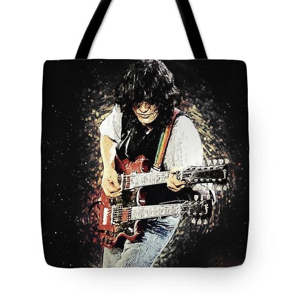 Tote Bag featuring the digital art Jimmy Page II by Taylan Apukovska