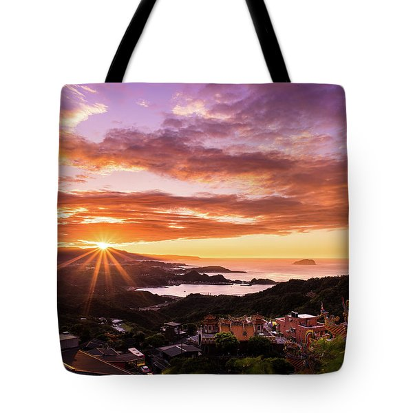Tote Bag featuring the photograph Jiufen Sunset by Geoffrey C Lewis