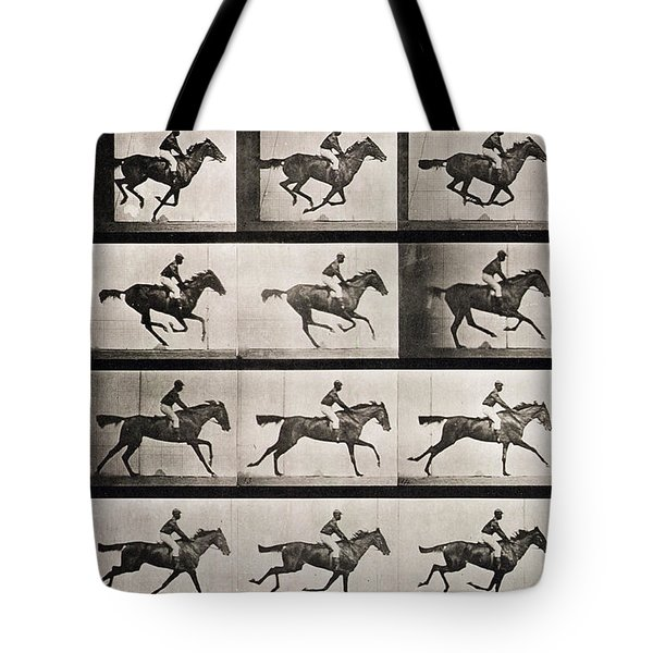 Jockey On A Galloping Horse Tote Bag