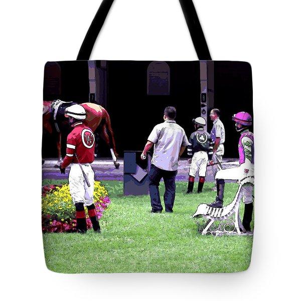 Tote Bag featuring the digital art Jockeys Painting by  Newwwman