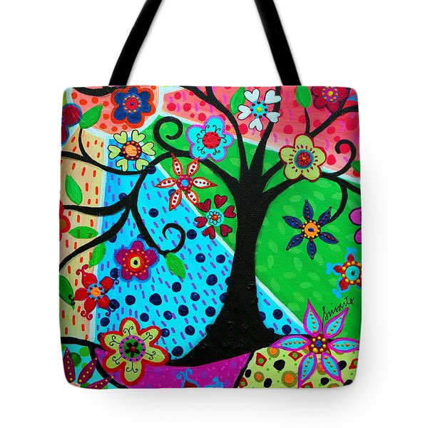 Tote Bag featuring the painting Jodi's Tree Of Life by Pristine Cartera Turkus