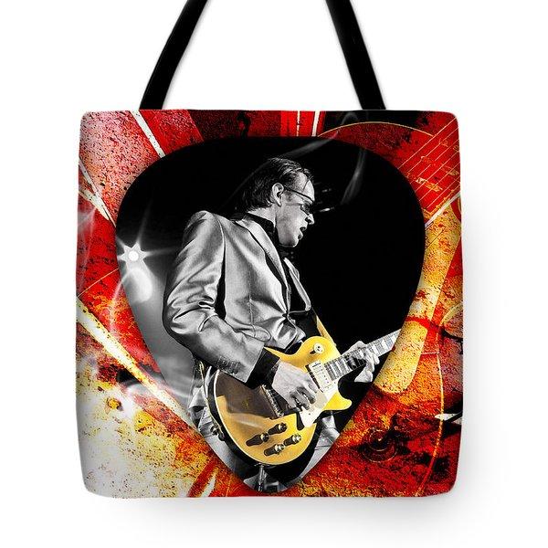 Joe Bonamassa Blue Guitar Art Tote Bag by Marvin Blaine