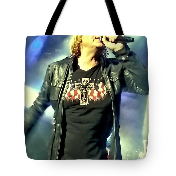 Joe Elliott Of Def Leppard Tote Bag by David Patterson