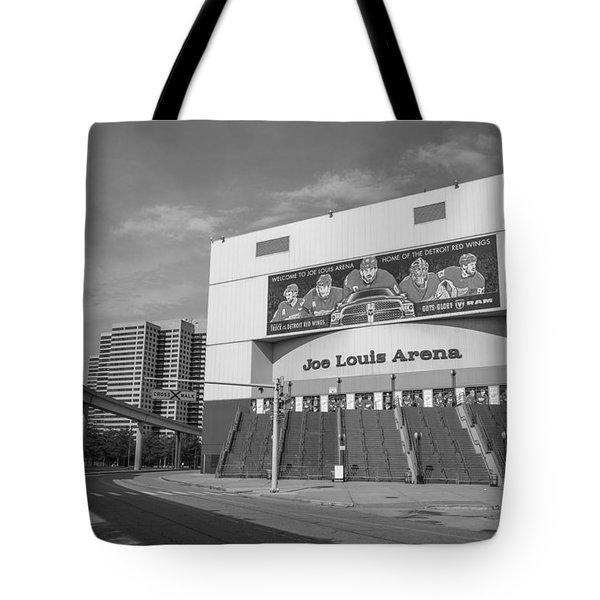 Joe Louis Arena Black And White  Tote Bag