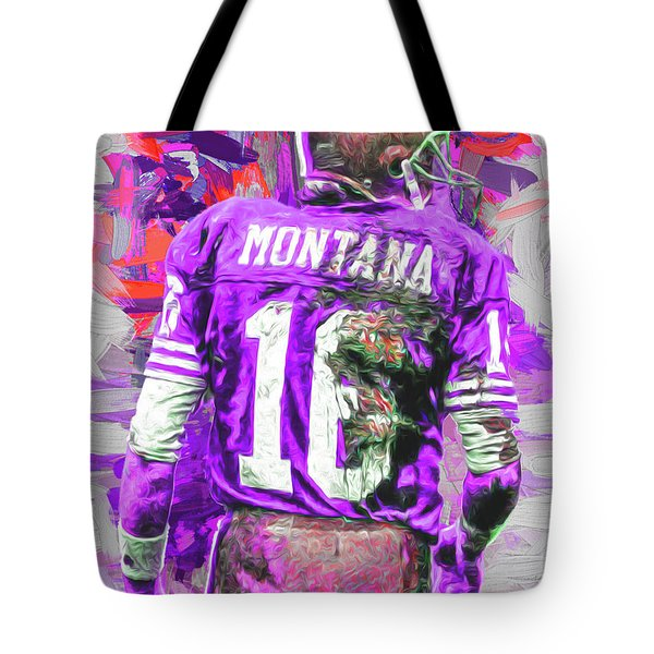 Joe Montana 16 San Francisco 49ers Football Tote Bag by David Haskett