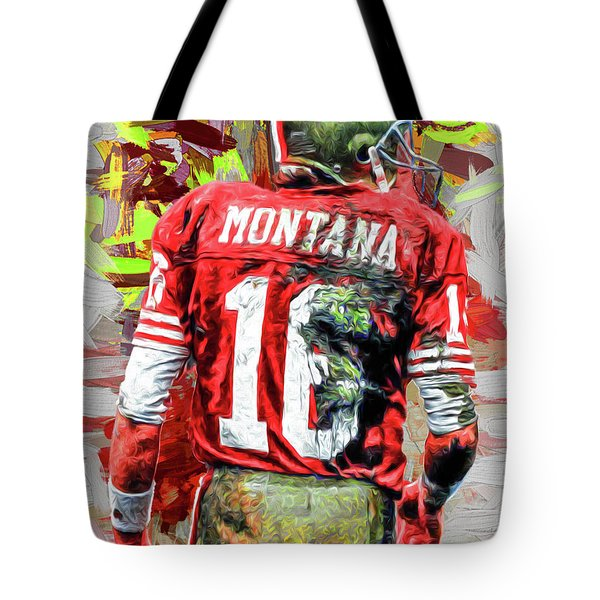 Joe Montana Football Digital Fantasy Painting San Francisco 49ers Tote Bag by David Haskett