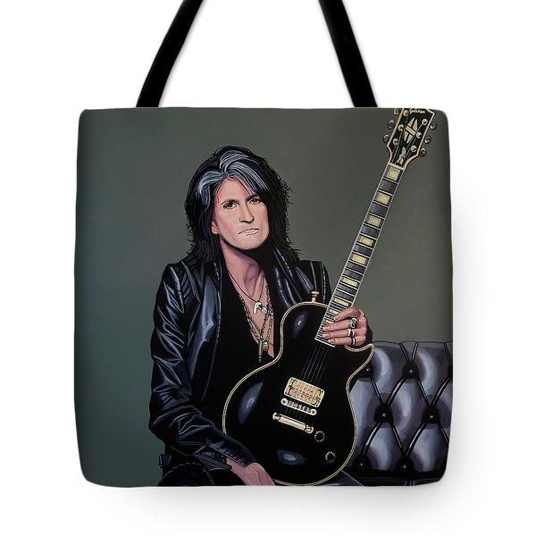 Joe Perry Of Aerosmith Painting Tote Bag by Paul Meijering