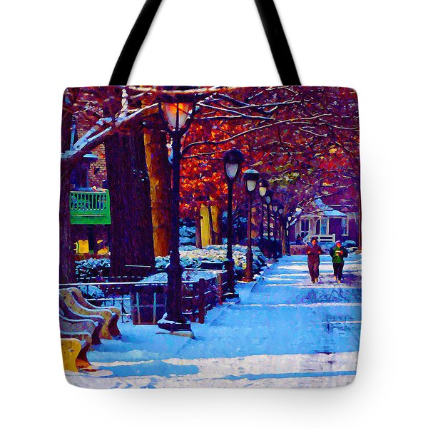 Jogging In The Snow Along Boathouse Row Tote Bag by Bill Cannon