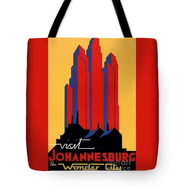 Johannesburg Vintage Travel Poster Restored Tote Bag by Carsten Reisinger