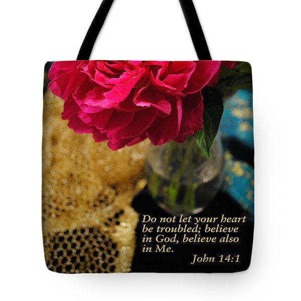 Tote Bag featuring the photograph John 14 Vs 1 by Kate Word