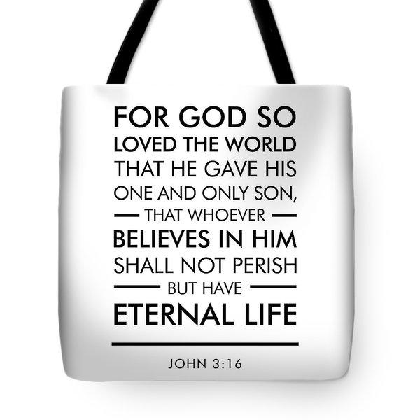 John 3-16 - Spiritual Wall Art - Bible Verses Art Tote Bag