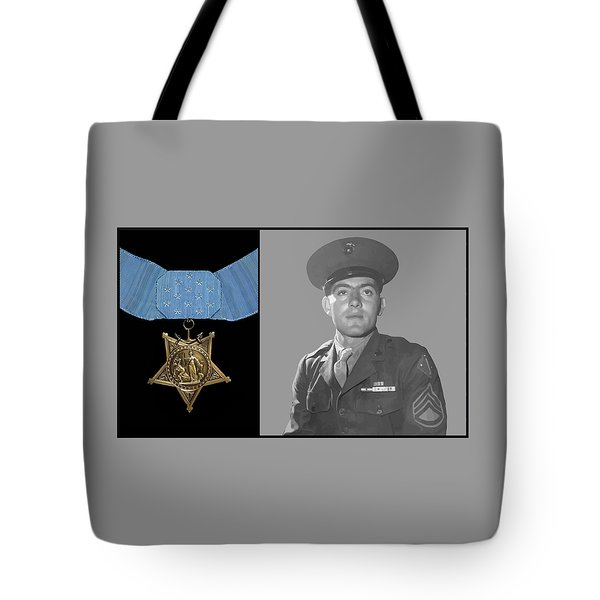 John Basilone And The Medal Of Honor Tote Bag by War Is Hell Store