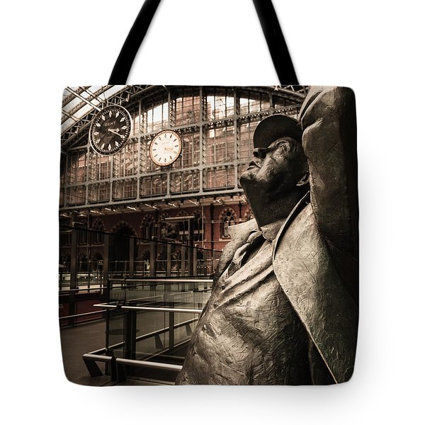 John Betjeman And Dent Clockat St Pancras Railway Station Tote Bag