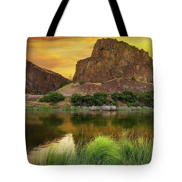 John Day River At Sunrise Tote Bag by David Gn