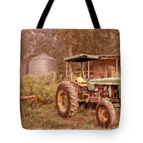 John Deere Antique Tote Bag by Debra and Dave Vanderlaan