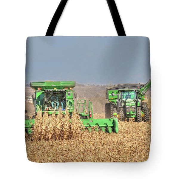 John Deere Combine Picking Corn Followed By Tractor And Grain Cart Tote Bag