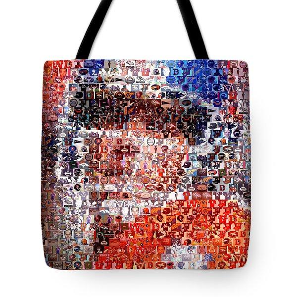John Elway Mosaic Tote Bag by Paul Van Scott