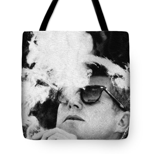 John F Kennedy Cigar And Sunglasses Black And White Tote Bag